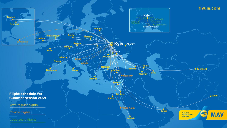 Маршрутная сеть МАУ в летнем расписании 2021 года