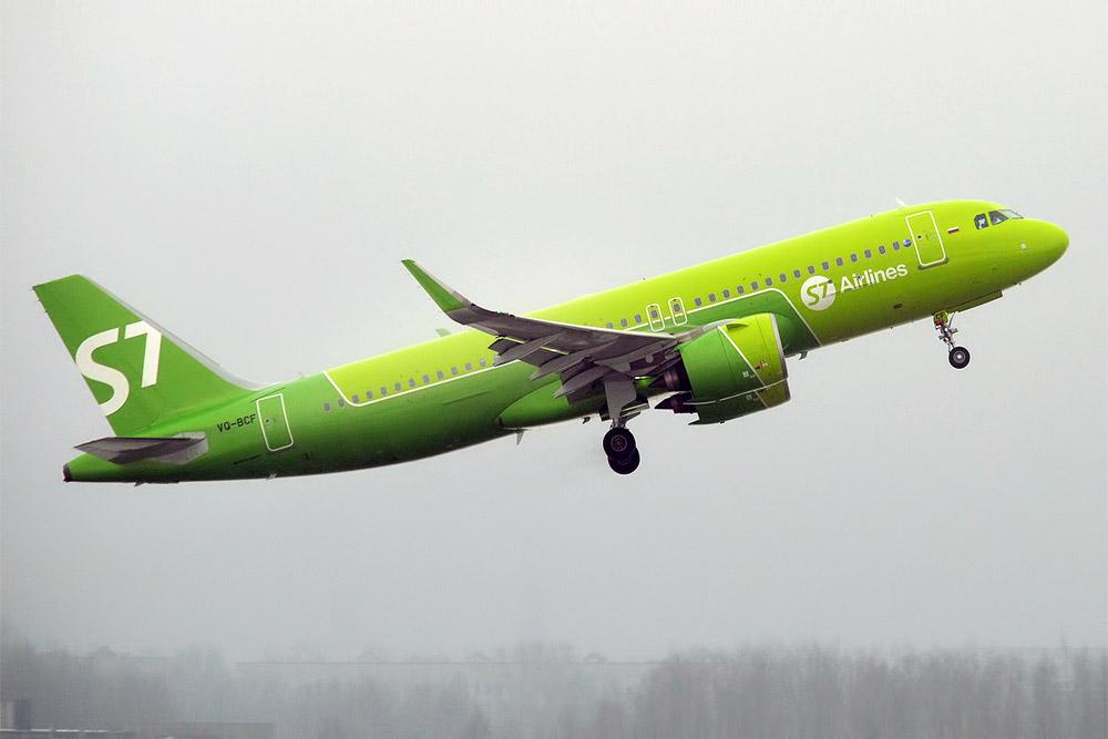 Airbus A320neo S7 Airlines в зеленой ливрее