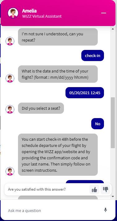 Пример общения с чат-ботом Wizz Air Amelia