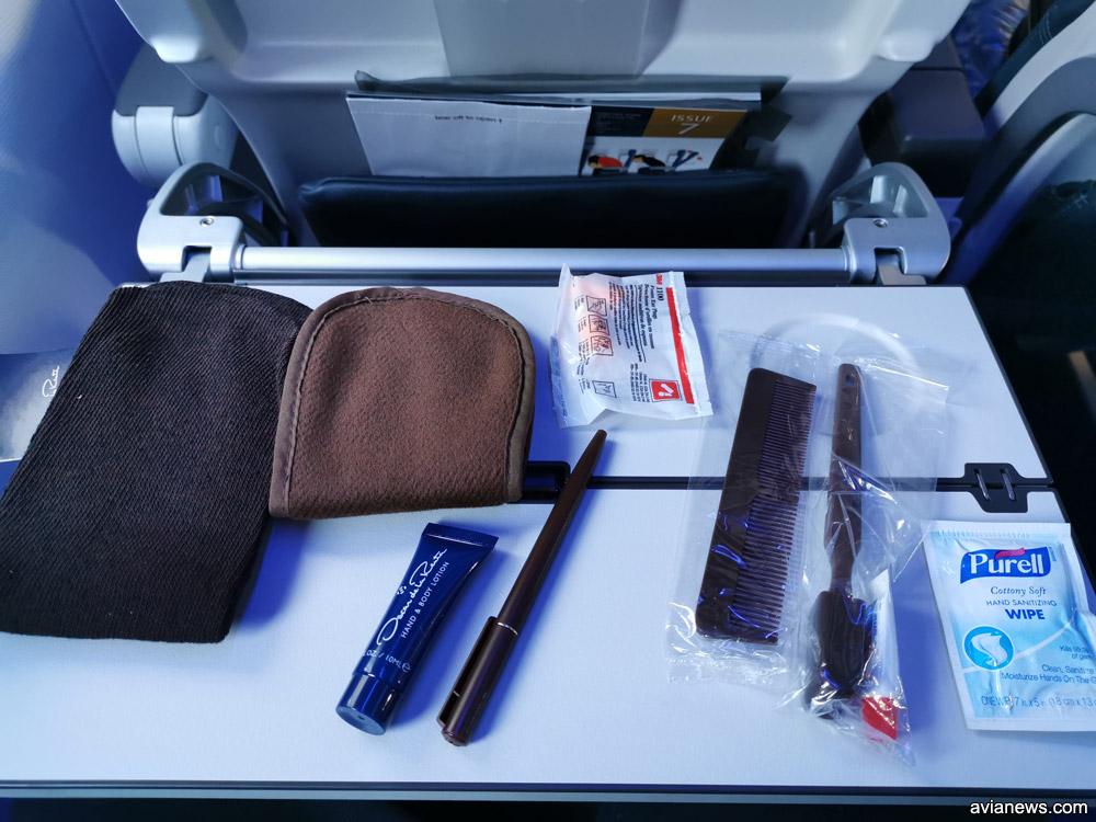Содержание косметички для пассажиров бизнес-класса Air Astana