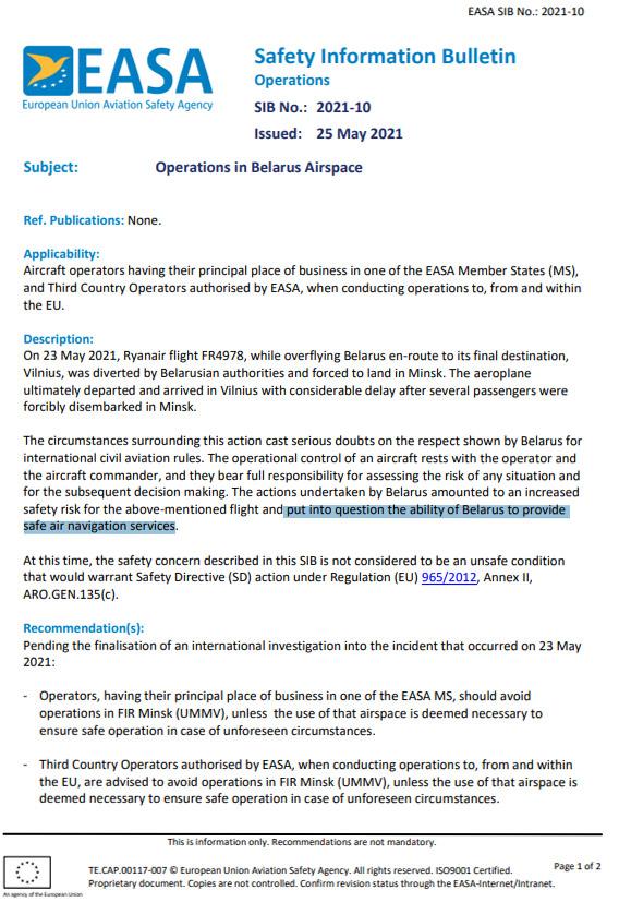 Информационный бюллетень о безопасности полетов EASA относительно полетов через Беларусь