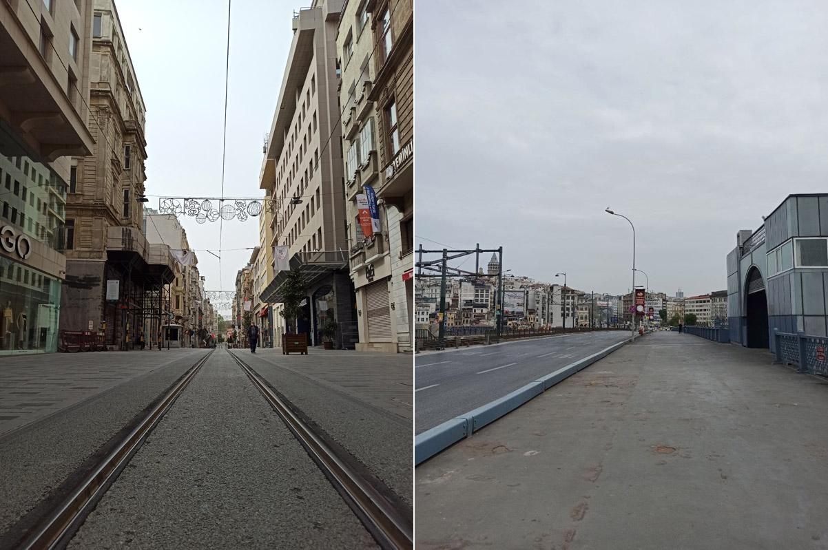 Улица Истикляль и Галатский мост в Стамбуле
