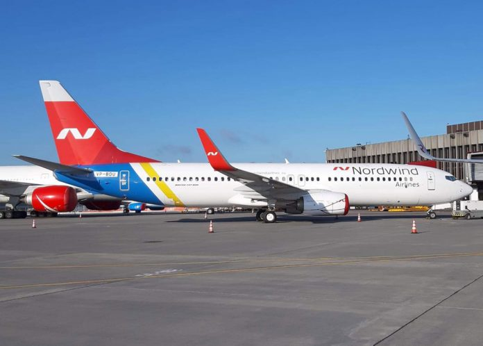 Boeing 737-800 Nordwind Airlines с остатками ливреи МАУ