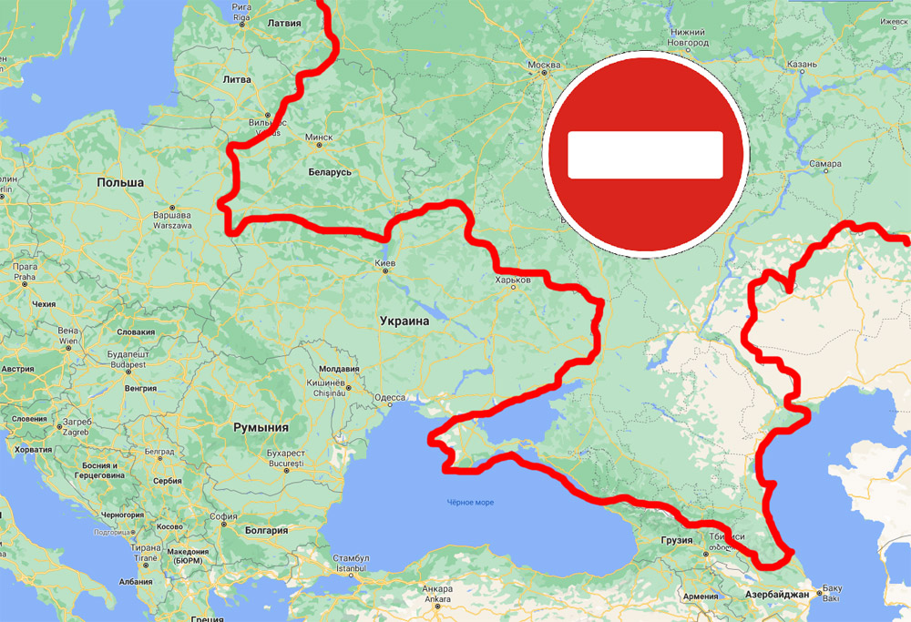Запретная зона для полетов из аэропортов Украины, если включить в список Беларусь