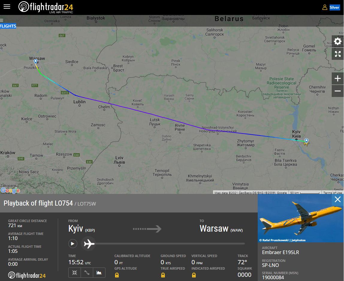 Маршрут, по которому LOT летает между Киевом и Варшавой