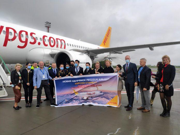 Встреча первого рейса Pegasus Airlines в Херсоне