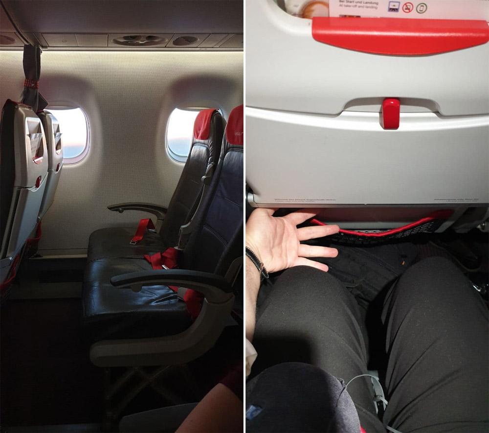 Расстояние между креслами в Embraer 195 Austrian Airlines