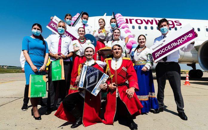 Встреча первого рейса Eurowings в аэропорту Краснодар