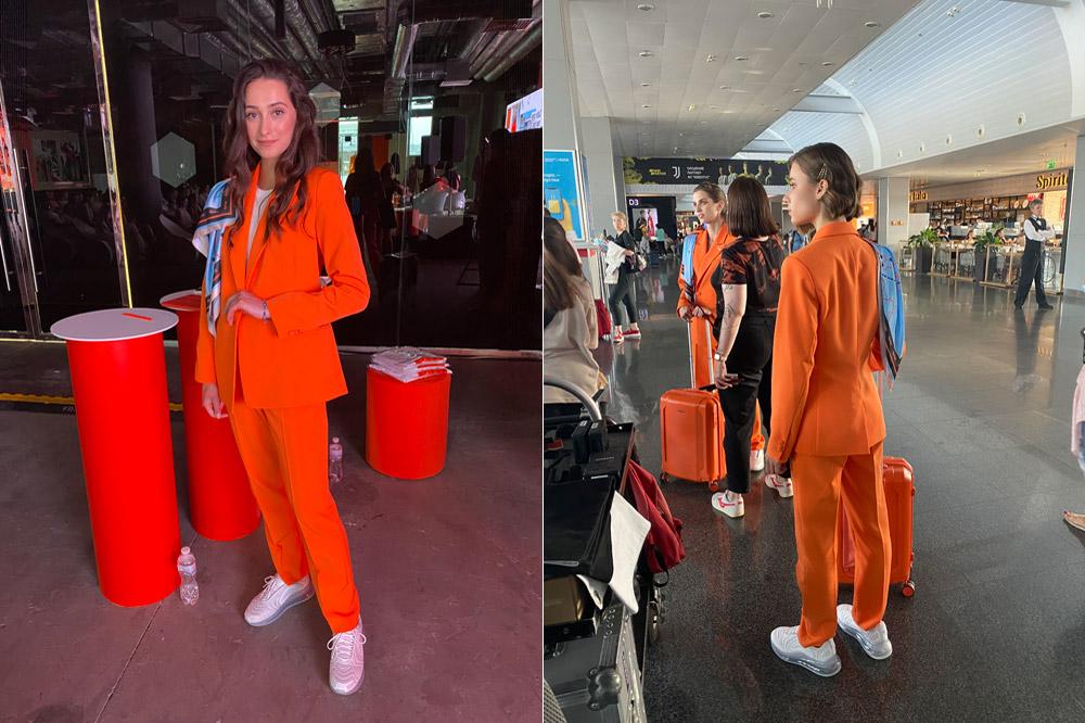 Новые брючные костюмы спортивного кроя и кроссовки Nike - так выглядит новая форма бортпроводников SkyUp в 2021 году