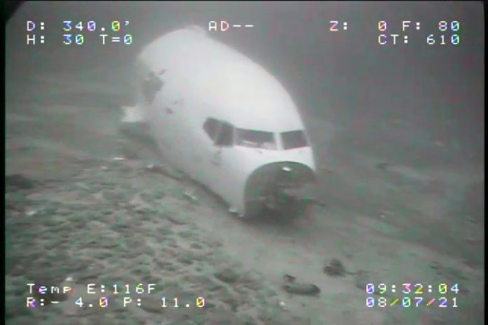 Носовая часть фюзеляжа Boeing 737-200 Transair на дне Тихого океана рядом с Гонолулу
