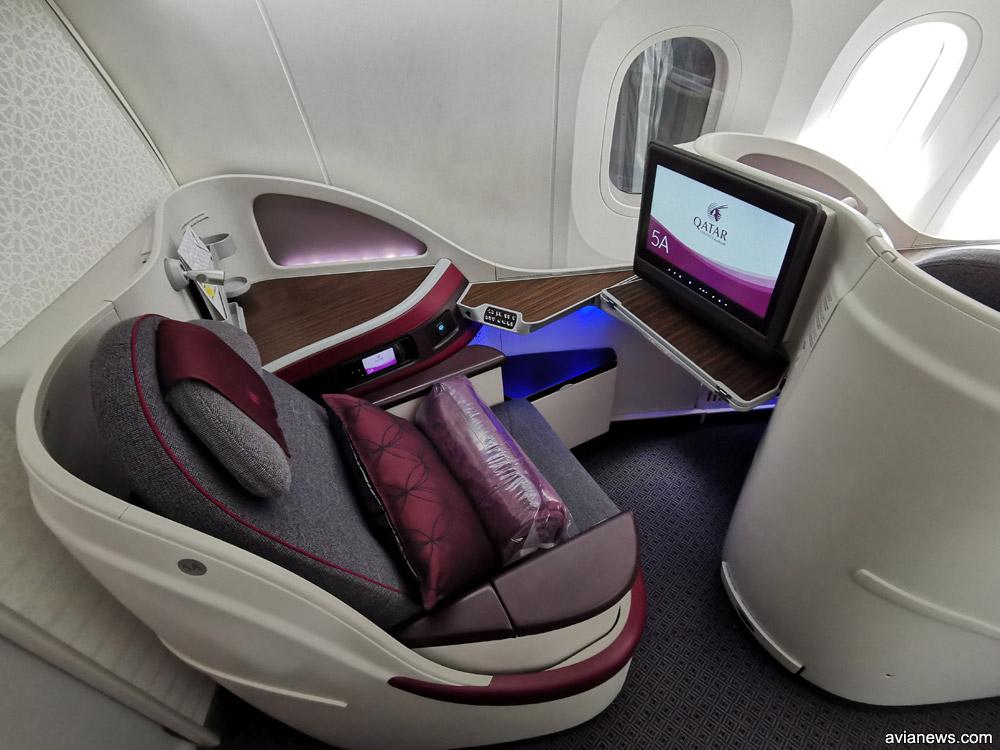 Кресло бизнес-класса в Boeing 787-8 Qatar Airways