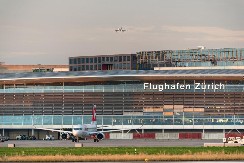 Вид на терминал со стороны перрона в аэропорту Цюриха