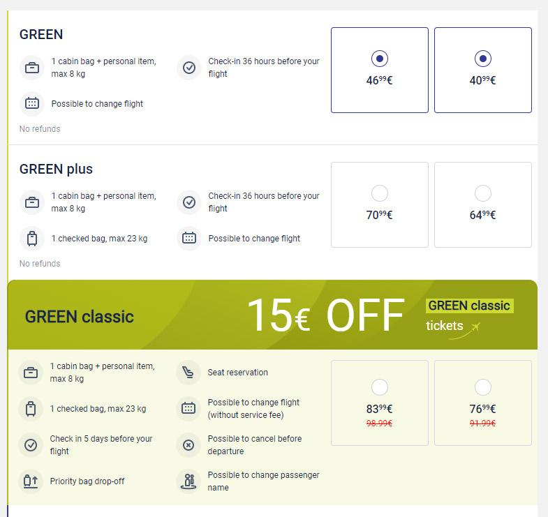 Пример применения скидки 15 евро и 30 евро на билеты airBaltic по тарифу Green Classic
