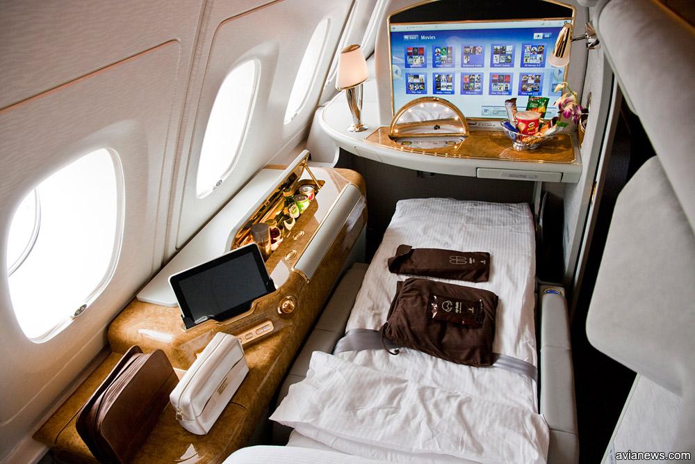 Каюта первого класса в Airbus A380 Emirates