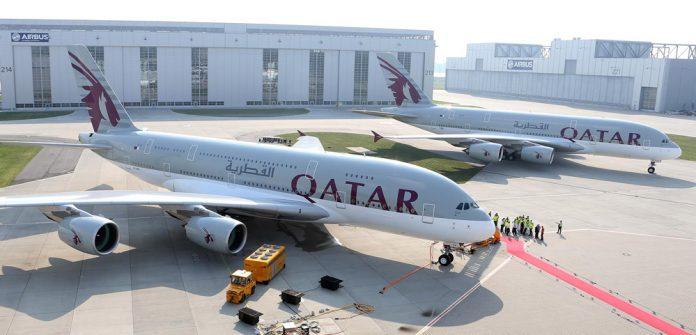 Авиалайнеры-гиганты Airbus A380 Qatar Airways