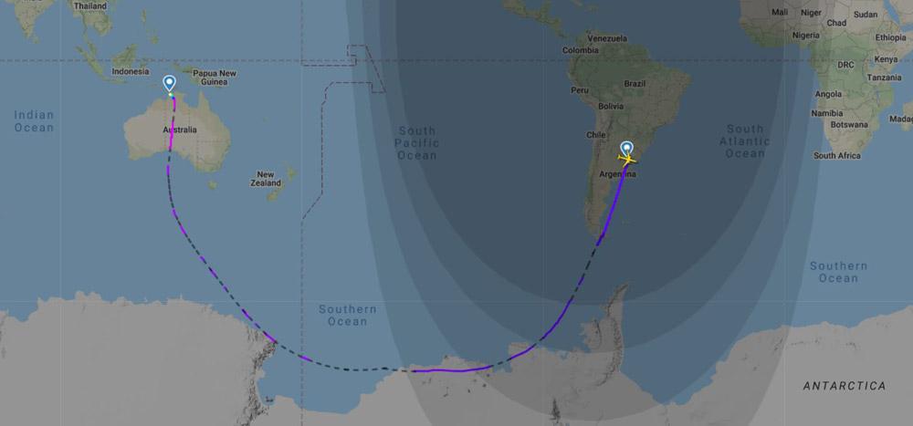 Маршрут рейса Qantas QF14 Буэнос-Айрес-Дарвин над Антарктикой