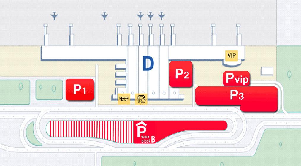 Схема размещения парковок рядом с терминалом D в аэропорту Борисполь